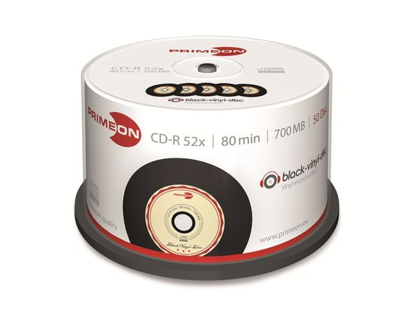 PRIMEON, CD-R, 80 Min, 700 MB, vinyl, schwarz, Cakebox (50 Disc)