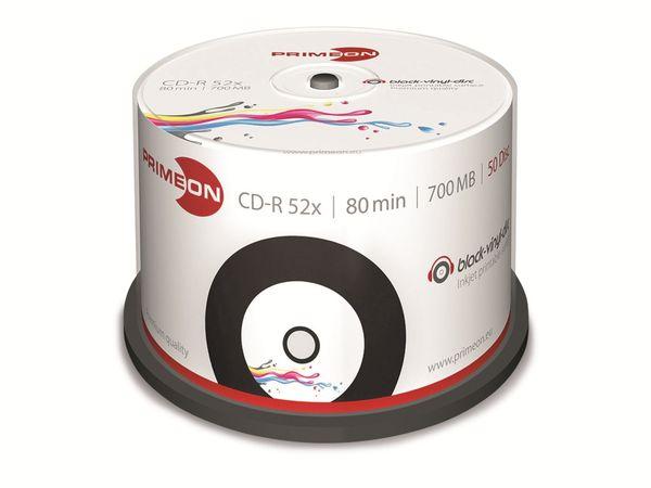 PRIMEON, CD-R, 80 Min, 700 MB, bedruckbar, vinyl, sw, Cakebox (50 Disc)