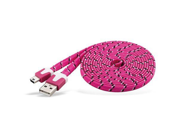 USB 2.0 Kabel USB-A/Mini-USB (B5), 2 m, mit Netzüberzug, pink