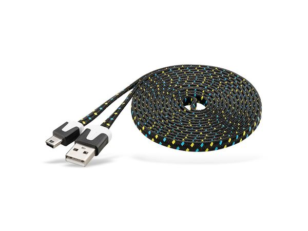 USB 2.0 Kabel USB-A/Mini-USB (B5), 2 m, mit Netzüberzug, schwarz