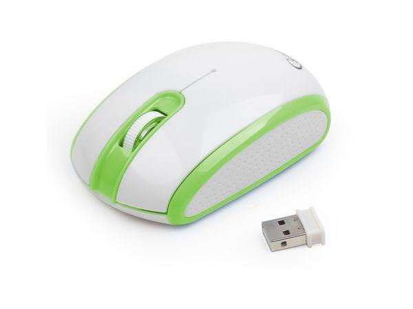 Funkmaus GEMBIRD MUSW-105-G, weiß/grün - Produktbild 1