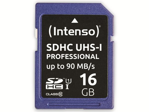 SDHC Card INTENSO 3431470, 16 GB, Class 10, UHS-I