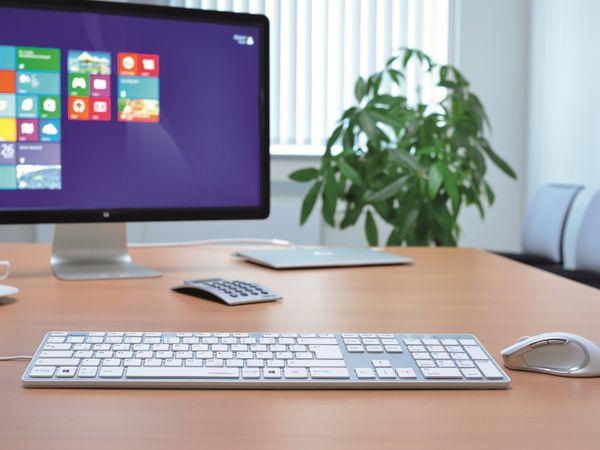 Computer-Tastatur HAMA Rossano 50453, USB, weiß/silber - Produktbild 2