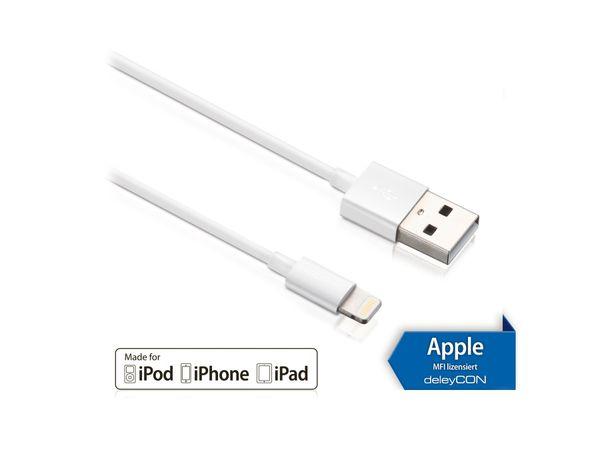 USB-Daten/Ladekabel DELEYCON MK-MK397 für Apple, 1 m, weiß