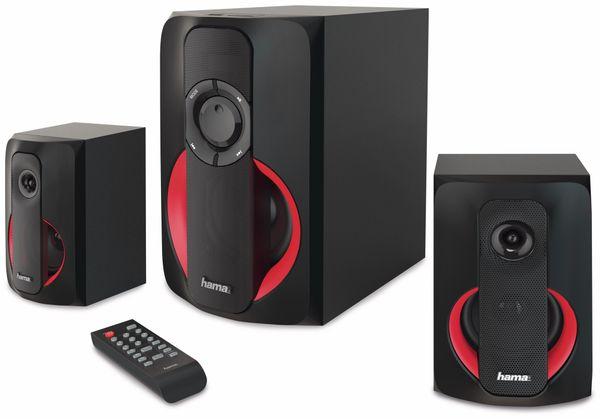 2.1-Soundsystem HAMA PR-2180, 80 W, schwarz-rot
