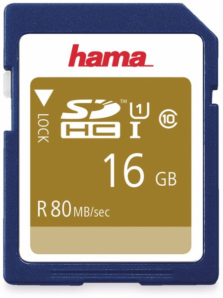 SDHC Card HAMA 124134, 16 GB, Class 10, UHS-I, 80 MB/s