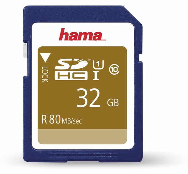 SDHC Card HAMA 124135, 32 GB, Class 10, UHS-I, 80 MB/s