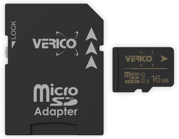 microSDHC Speicherkarte VERICO, 16GB, Class 10, UHS-I, mit Adapter - Produktbild 1