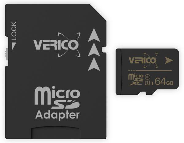 microSDXC Speicherkarte VERICO, 64GB, Class 10, UHS-I, mit Adapter