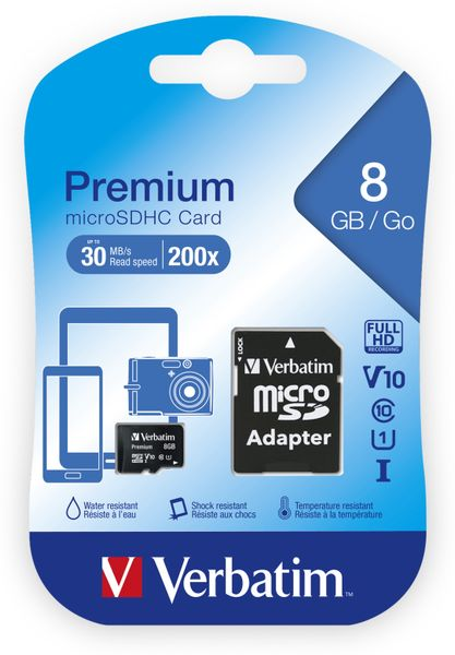 MicroSDHC Card VERBATIM Premium, 8 GB, Class 10, inkl. Adapter - Produktbild 2