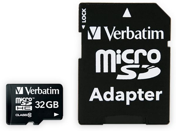 MicroSDHC Card VERBATIM Premium, 32 GB, Class 10, inkl. Adapter