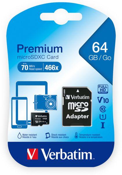 MicroSDXC Card VERBATIM Premium, 64 GB, Class 10, inkl. Adapter - Produktbild 2