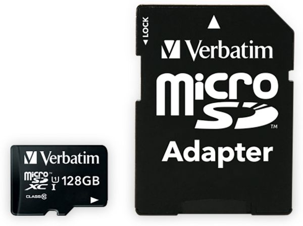 MicroSDXC Card VERBATIM Premium, 128 GB, Class 10, inkl. Adapter