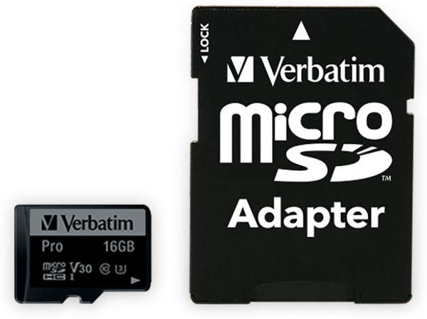 MicroSDHC Card VERBATIM Pro, 16 GB, Class 10, inkl. Adapter