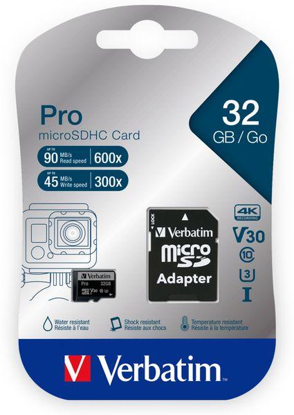 MicroSDHC Card VERBATIM Pro, 32 GB, Class 10, inkl. Adapter - Produktbild 2