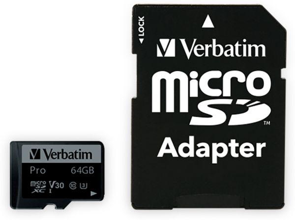 MicroSDXC Card VERBATIM Pro, 64 GB, Class 10, inkl. Adapter