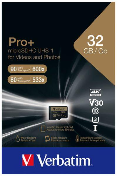 MicroSDHC Card VERBATIM Pro+, 32 GB, Class 10, inkl. Adapter - Produktbild 2