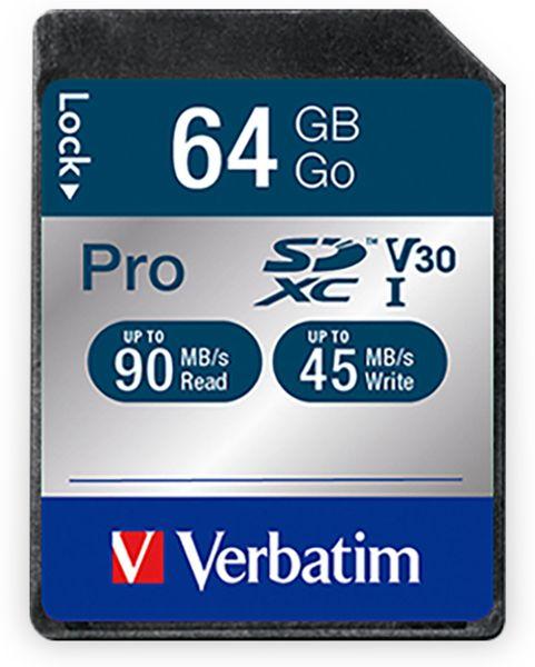 SDXC Card VERBATIM Pro, 64 GB, Class 10