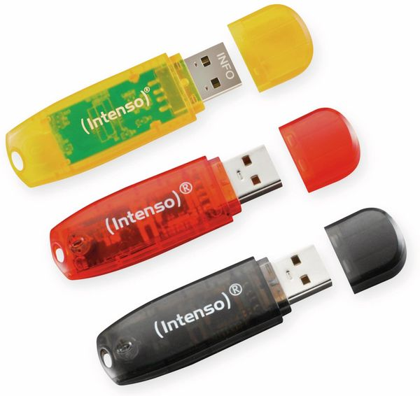 USB 2.0 Stick INTENSO Rainbow Line, 16 GB, 3er Pack