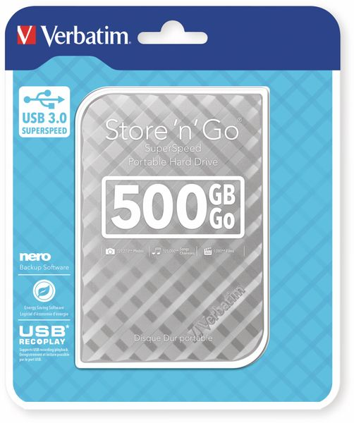 USB3.0 HDD VERBATIM Store´n´Go Gen2, 500 GB, silber - Produktbild 2