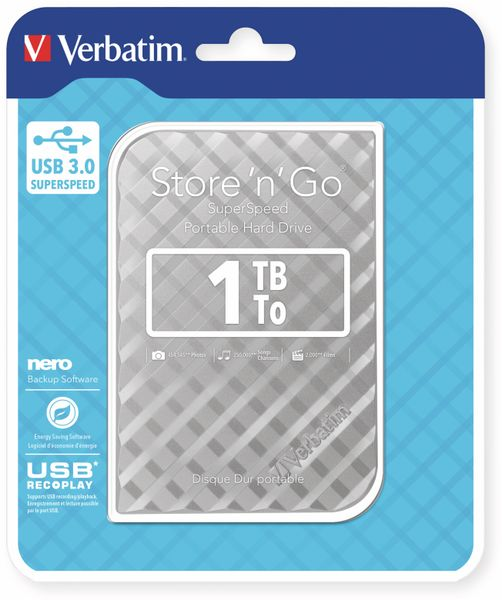 USB3.0 HDD VERBATIM Store´n´Go Gen2, 1 TB, silber - Produktbild 2