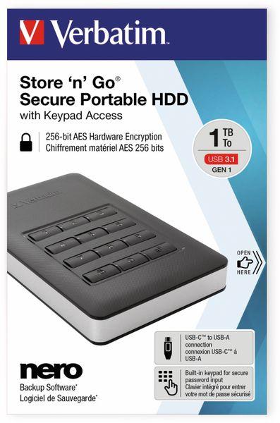 USB3.0 HDD VERBATIM Secure Portable, Keypad, 1 TB, schwarz - Produktbild 2