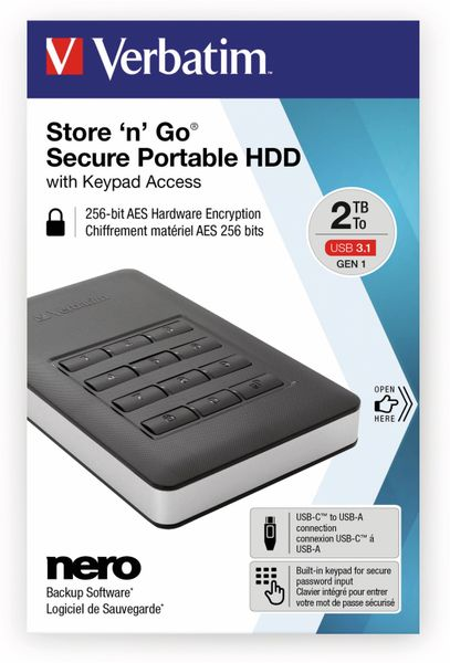 USB3.0 HDD VERBATIM Secure Portable, Keypad, 2 TB, schwarz - Produktbild 2