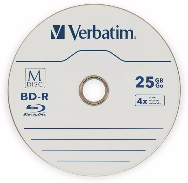 M-Disc VERBATIM BD-R, 25 GB, 25 Stück, Blau-weiß Oberfläche