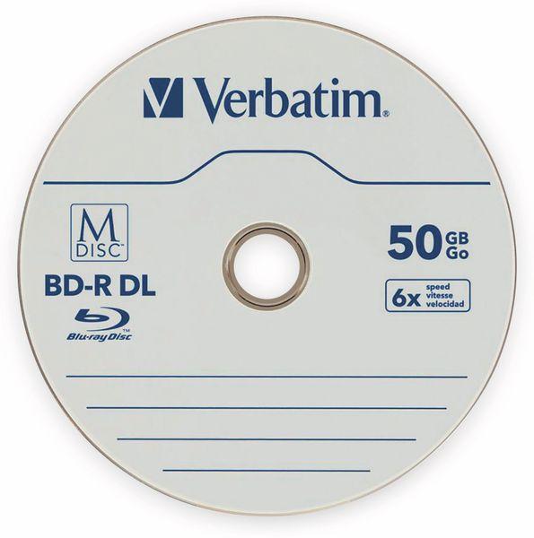 M-Disc VERBATIM BD-R, 50 GB, 5 Stück, Blau-weiß Oberfläche