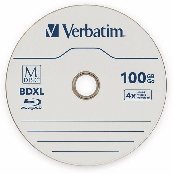 M-Disc VERBATIM BD-R, 100 GB, 5 Stück, Blau-weiß Oberfläche