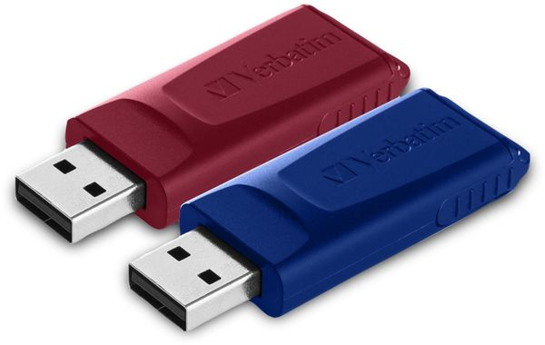 USB 2.0 Stick VERBATIM Store N Go Slider, 32GB, rot/blau, 2er Pack