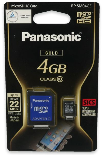 microSDHC Speicherkarte, 4 GB, Panasonic, Class 10, mit Adapter - Produktbild 2