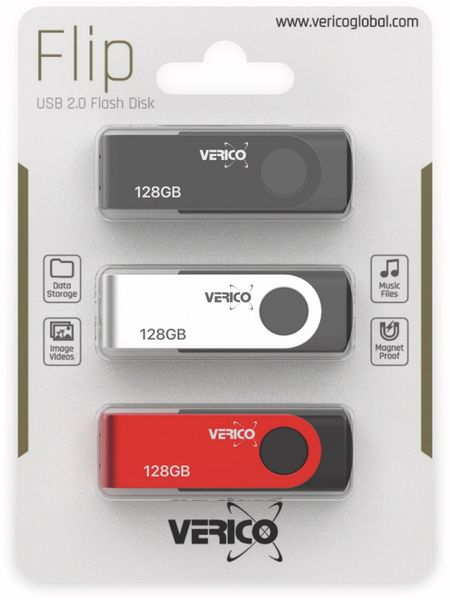 USB 2.0 Stick VERICO, 3er Pack, 128 GB - Produktbild 2