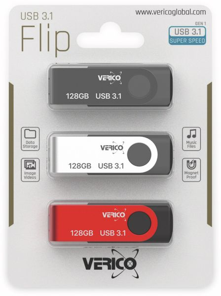 USB 3.1 Stick VERICO, 3er Pack, 128 GB - Produktbild 2
