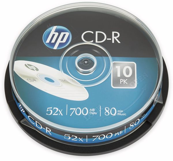 CD-R HP 80Min, 700MB, 52x, Cakebox, 10 CDs, Silver Surface