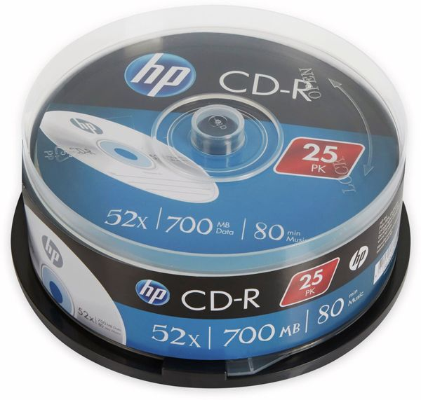 CD-R HP 80Min, 700MB, 52x, Cakebox, 25 CDs, Silver Surface