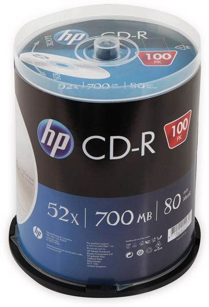 CD-R HP 80Min, 700MB, 52x, Cakebox, 100 CDs, Silver Surface