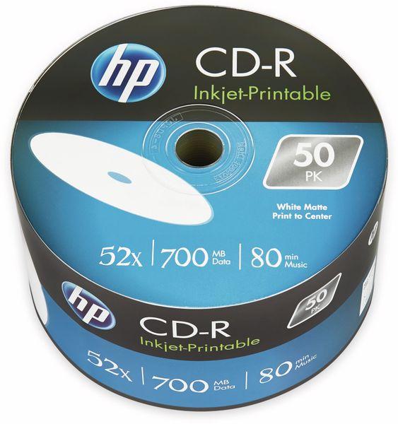 CD-R HP 80Min, 700MB, 52x, Bulk-Pack, 50 CDs, bedruckbar