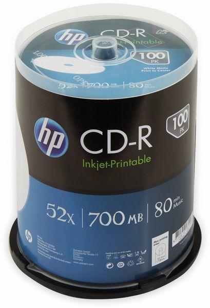 CD-R HP 80Min, 700MB, 52x, Cakebox, 100 CDs, bedruckbar