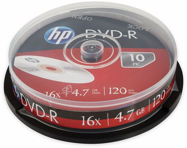 DVD-R HP 4.7GB, 120Min, 16x, Cakebox, 10 CDs