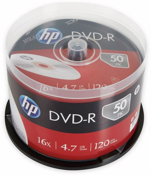 DVD-R HP 4.7GB, 120Min, 16x, Cakebox, 50 CDs