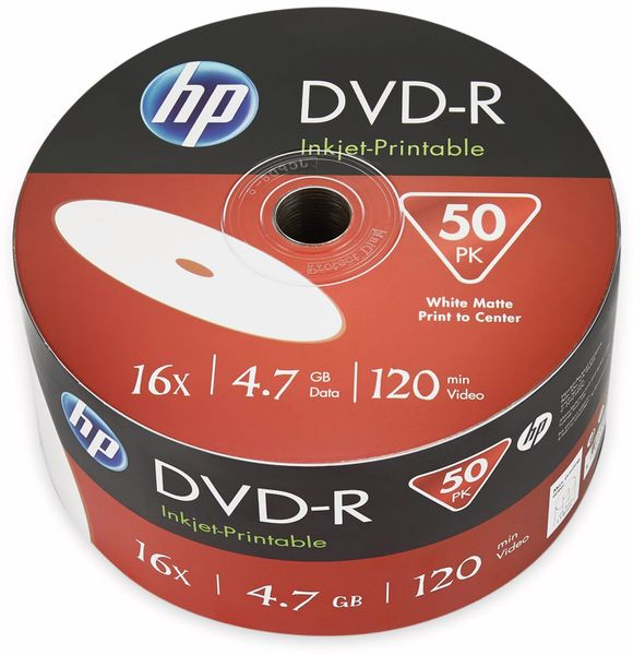 DVD-R HP 4.7GB, 120Min, 16x, Bulk-Pack, 50 CDs, bedruckbar