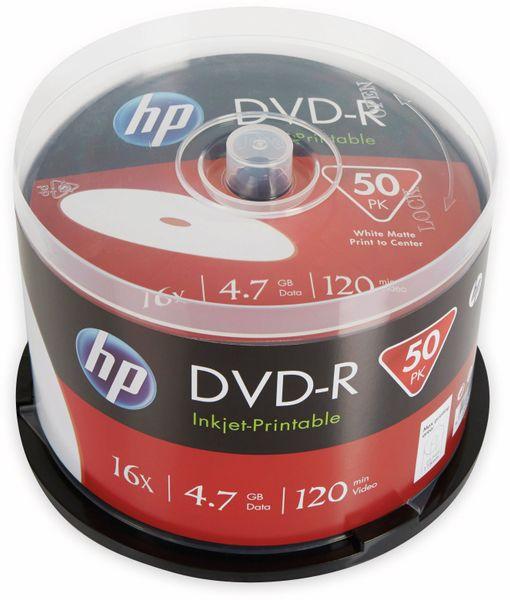 DVD-R HP 4.7GB, 120Min, 16x, Cakebox, 50 CDs, bedruckbar