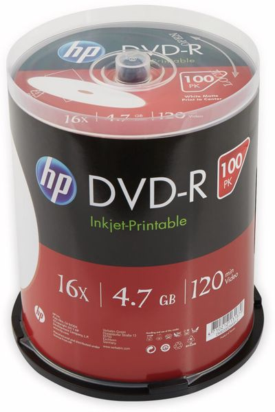DVD-R HP 4.7GB, 120Min, 16x, Cakebox, 100 CDs, bedruckbar