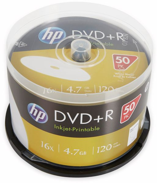 DVD+R HP 4.7GB, 120Min, 16x, Cakebox, 50 CDs bedruckbar