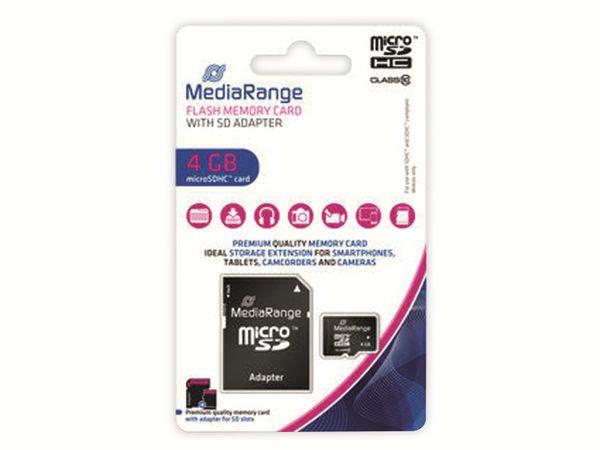 MicroSD-Card MEDIARANGE, Class 10, 4 GB