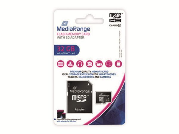 MicroSD-Card MEDIARANGE, Class 10, 32 GB