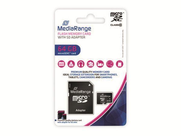 MicroSD-Card MEDIARANGE, Class 10, 64 GB