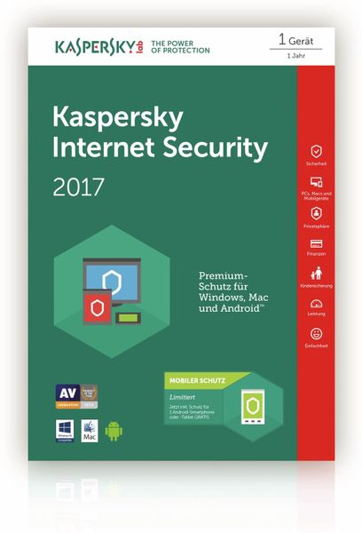 KASPERSKY Internet Security 2017 + Android Security (Code in a Box) FFP