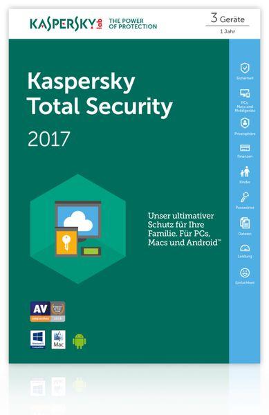 KASPERSKY Total Security 2017, 3 Lizenzen (Code in a Box) FFP